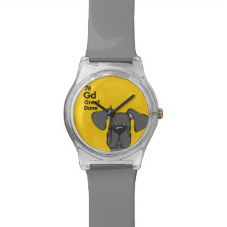 Black Great Dane Natural Ears - The Dog Table Watch