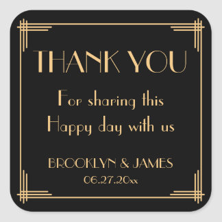 Black Great Gatsby Art Deco Wedding Stickers
