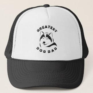Black Greatest Dog Dad Text & Dog Illustration Trucker Hat