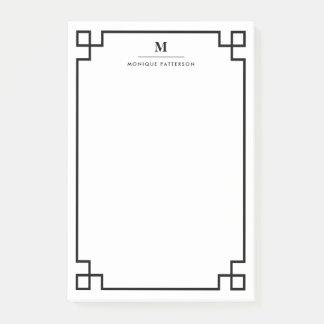 Black Greek Key Border Monogram Personalized Post-it® Notes