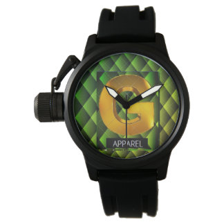 Black Green and Gold G Apparel Watch
