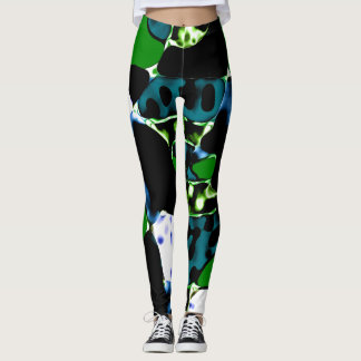 Black green blue spotted  leggings