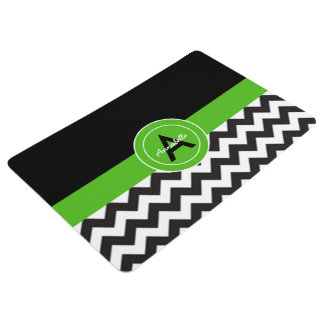 Black Green Chevron Floor Mat