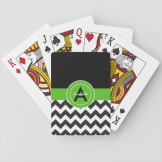 Black Green Chevron Playing Cards