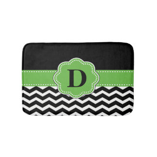 Black Green Chevron Rug