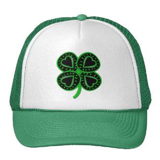 Black Green Clover Heart St Patrick's Green Hat