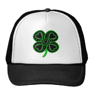 Black Green Clover with Heart - St Patrick's Day Trucker Hat