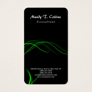 Black Green Curves Brush Script Minimalist Modern Business Card