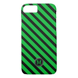 Black & Green Diagonal Stripe Monogram iPhone 8/7 Case