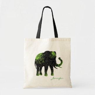 Black & Green Floral Elephant Tote Bag