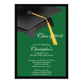 Black Green Grad Cap Graduation Party Invitation