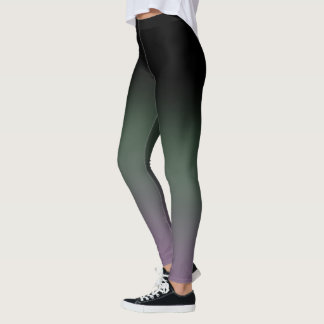 Black Green Gradient Fade Leggings