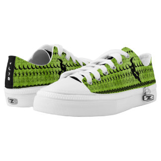 Black/Green Halloween Witch Fun Font Art Pattern Low-Top Sneakers