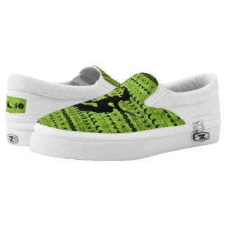 Black/Green Halloween Witch Fun Font Art Pattern Slip-On Sneakers