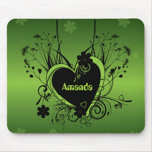 Black Green heart Mouse Pads