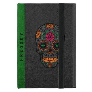 Black & Green Leather & Retro Floral Sugar Skull iPad Mini Cover