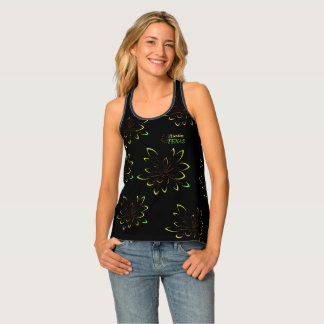 Black Green Neon Flower Austin Texas Destination Tank Top