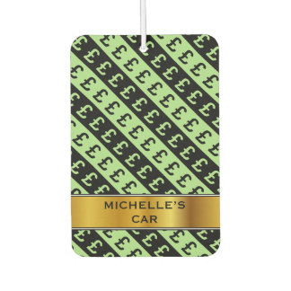 Black & Green Pound Signs (£) Striped Pattern Car Air Freshener