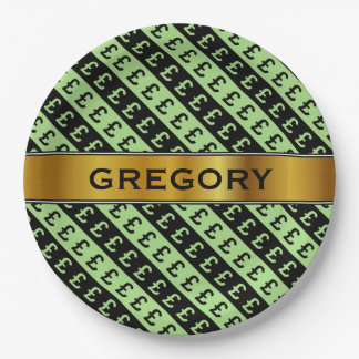 Black & Green Pound Signs (£) Striped Pattern Paper Plate