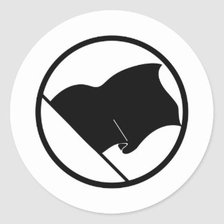 Black Green Purple Flag Plain No Symbol Blank Classic Round Sticker