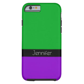Black, Green & Purple Personalized with Your Name Tough iPhone 6 Case