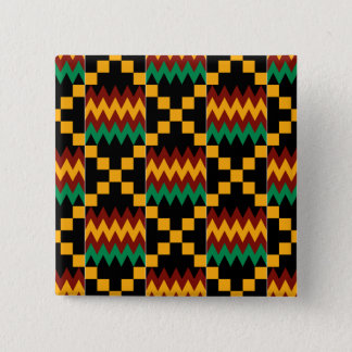 Black, Green, Red, and Yellow Kente Cloth 2 Inch Square Button