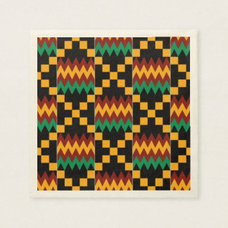 Black, Green, Red, and Yellow Kente Cloth Disposable Napkin