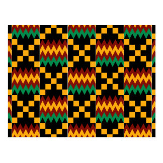 Black, Green, Red, and Yellow Kente Cloth Postcard