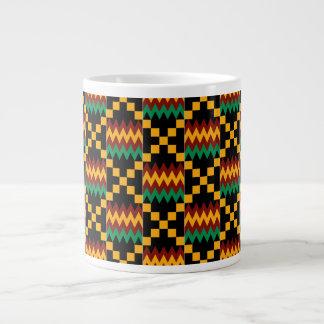 Black, Green, Red, Yellow Kente Cloth Pattern Jumbo Mug