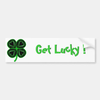 Black Green Shamrock -1- St Patrick's Day Car Bumper Sticker