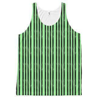 Black Green Stripes All-Over-Print Tank Top