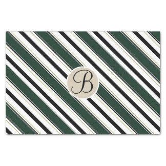 Black Green Stripes Kraft Monogram Letter Initial Tissue Paper