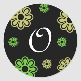 Black Green Tan Floral Letter O Classic Round Sticker