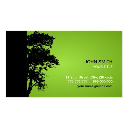 Black / Green Tree business card
