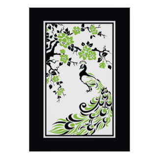 Black, green, white peacock and cherry blossoms poster