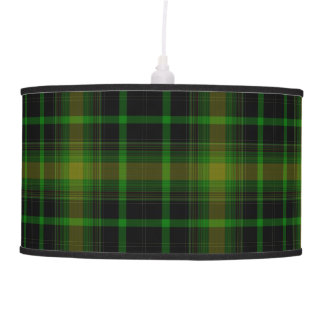Black Green Yellow Gold Large Tartan Plaid Pendant Lamp