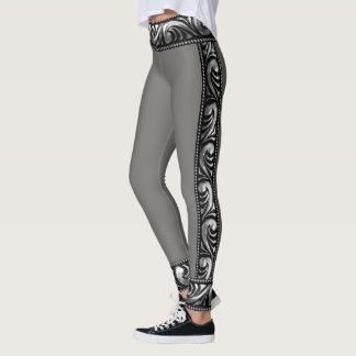 Black Grey and Antique Silver Leggings