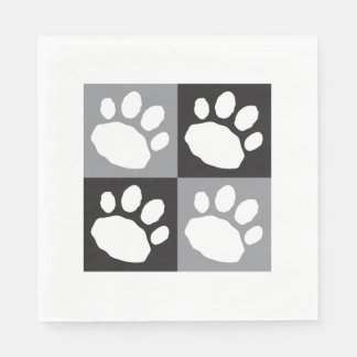 Black, Grey, and White Animal Print Paper Napkin