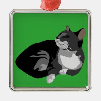 Black grey and white arty cat design Silver-Colored square ornament