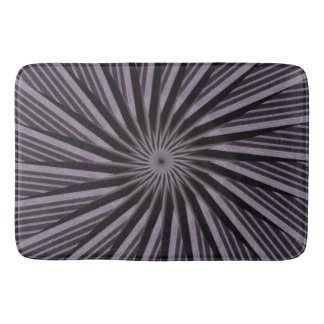Black, grey and White Optical Illusion Circles Bathroom Mat