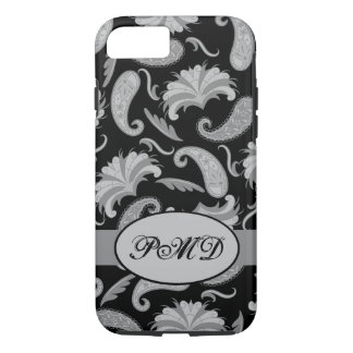 Black Grey Art Deco Parisian Paisley Monogram iPhone 7 Case