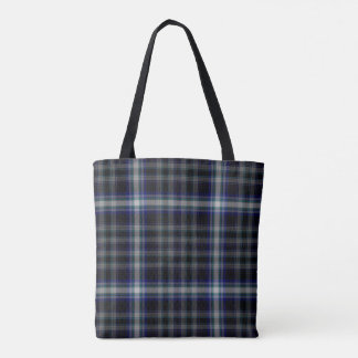 Black Grey Blue Tartan Plaid Tote Bag