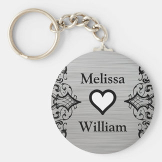 Black Grey Bride Groom Names Floral Wedding Basic Round Button Keychain