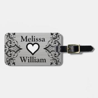 Black Grey Bride Groom Names Floral Wedding Luggage Tag