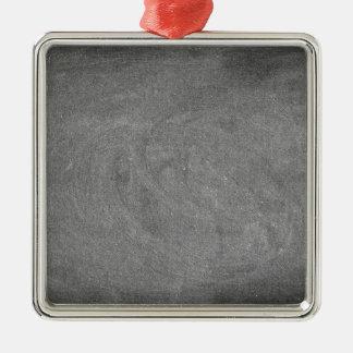 Black Grey Chalkboard Blackboard Background Silver-Colored Square Ornament