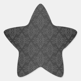 Black Grey Charcoal Damask Pattern Star Sticker