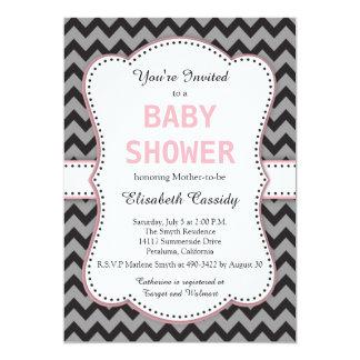 Black & Grey Chevron, Pink Baby Shower Invitation