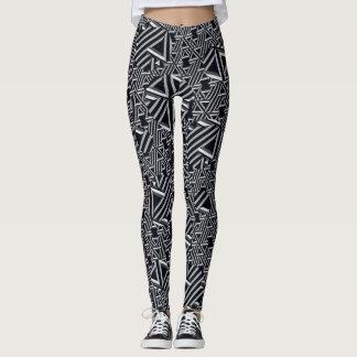 Black/Grey/Cream Abstract Leggings