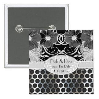 Black & Grey Feminine Floral Manly Metal Wedding 2 Inch Square Button