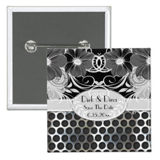 Black & Grey Feminine Floral Manly Metal Wedding Button